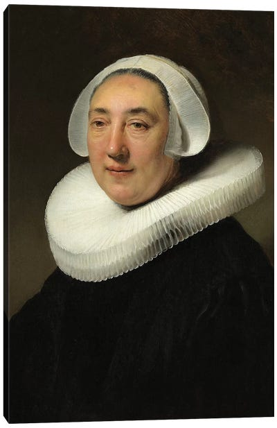 Portrait Of Haesje Jacobsdr van Cleyburg, 1634 Canvas Art Print