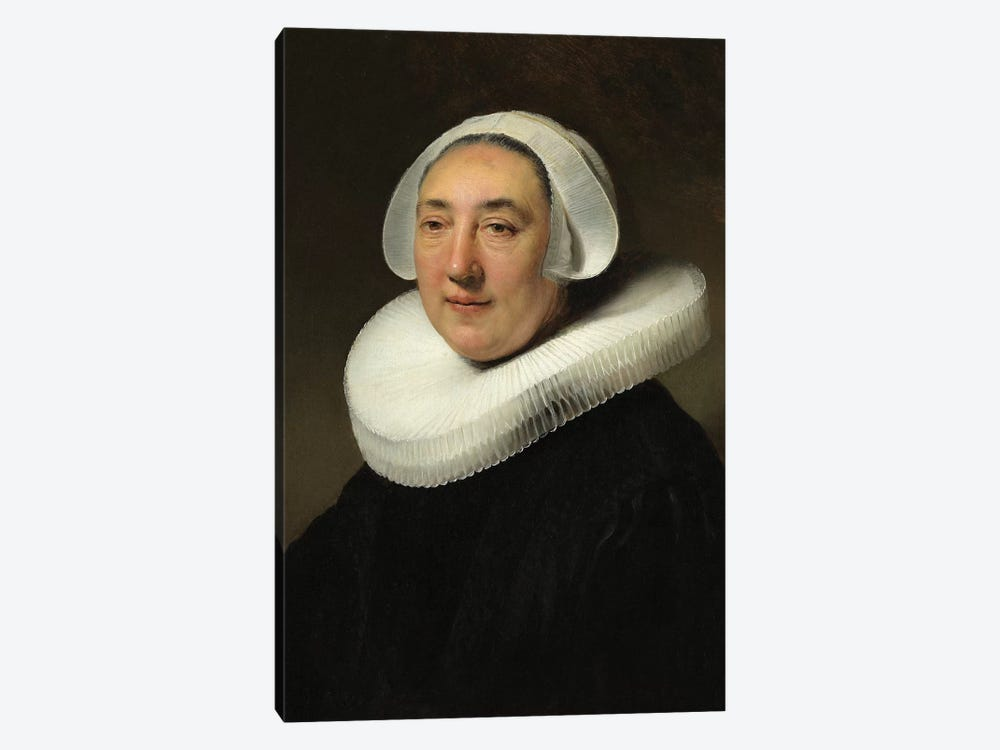 Portrait Of Haesje Jacobsdr van Cleyburg, 1634 by Rembrandt van Rijn 1-piece Canvas Print
