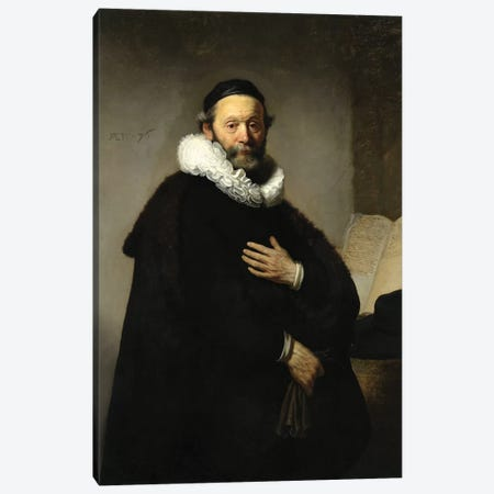 Portrait Of Johannes Wtenbogaert, 1633 Canvas Print #BMN6503} by Rembrandt van Rijn Canvas Artwork