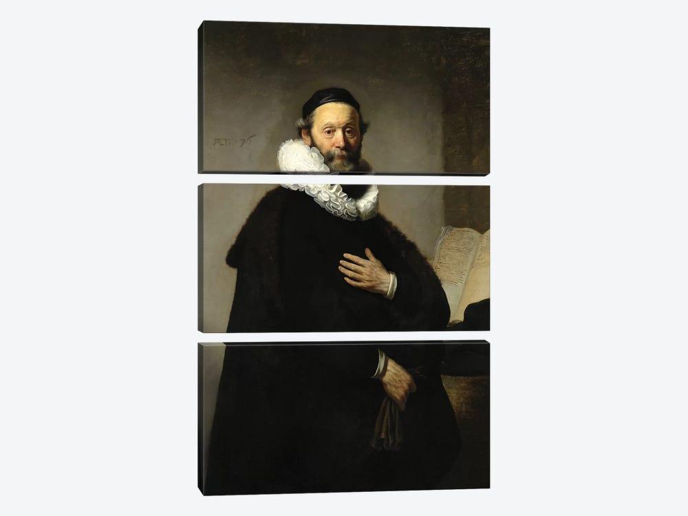 Portrait Of Johannes Wtenbogaert, 1633 by Rembrandt van Rijn 3-piece Canvas Artwork