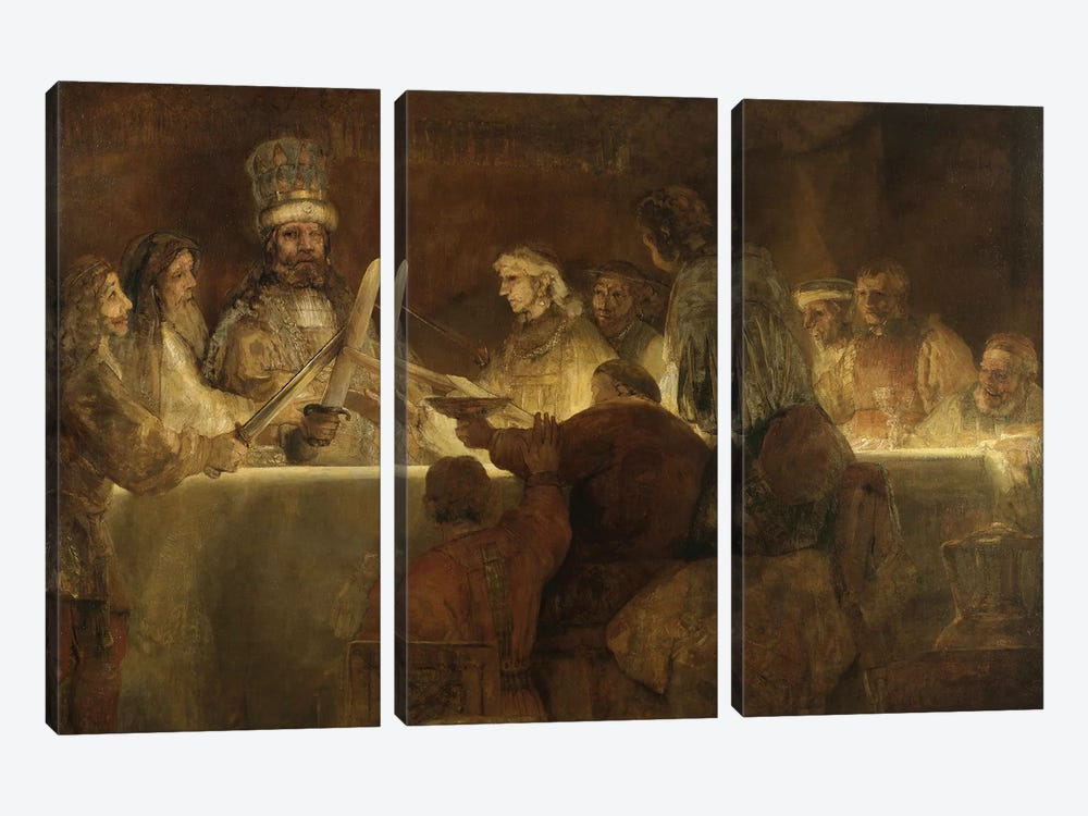 The Conspiracy Of The Batavians Under Claudius Civilis, c.1666 by Rembrandt van Rijn 3-piece Canvas Print