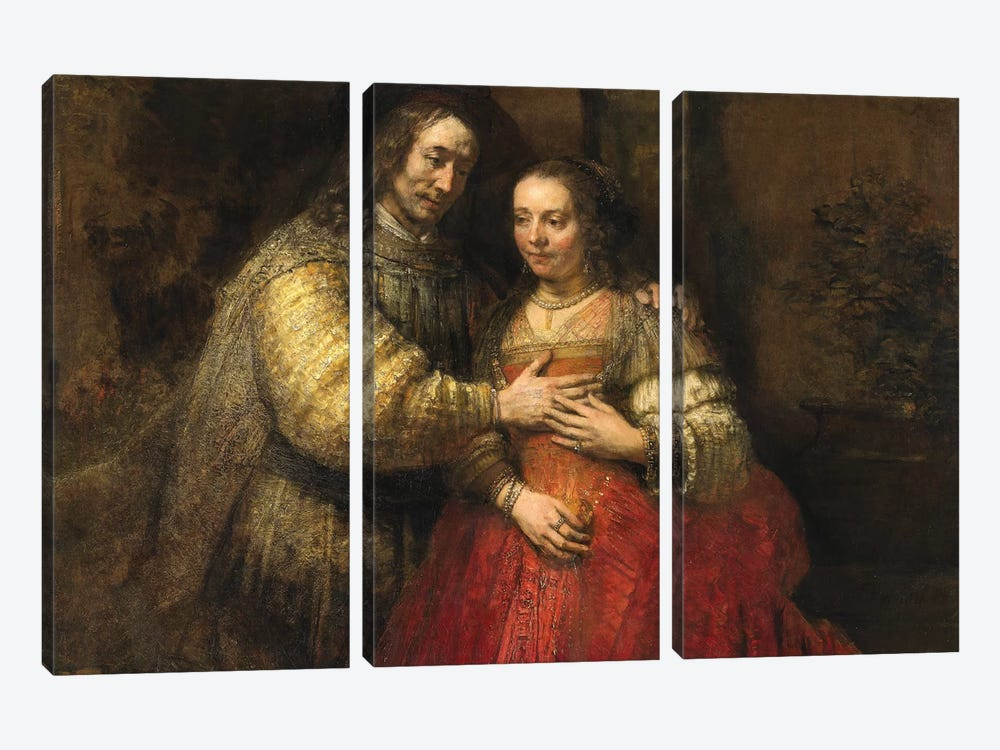 The Jewish Bride, c.1667 by Rembrandt van Rijn 3-piece Canvas Artwork