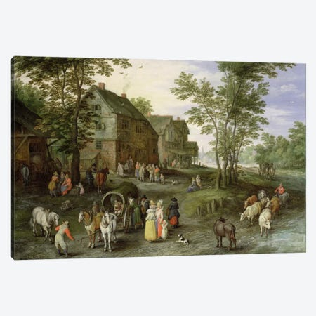 Village Landscape with Figures Preparing to Depart, 1613/1617  Canvas Print #BMN650} by Jan Brueghel the Elder Art Print