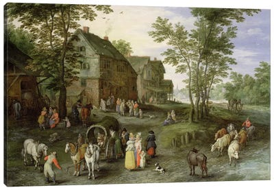 Village Landscape with Figures Preparing to Depart, 1613/1617 Canvas Art Print
