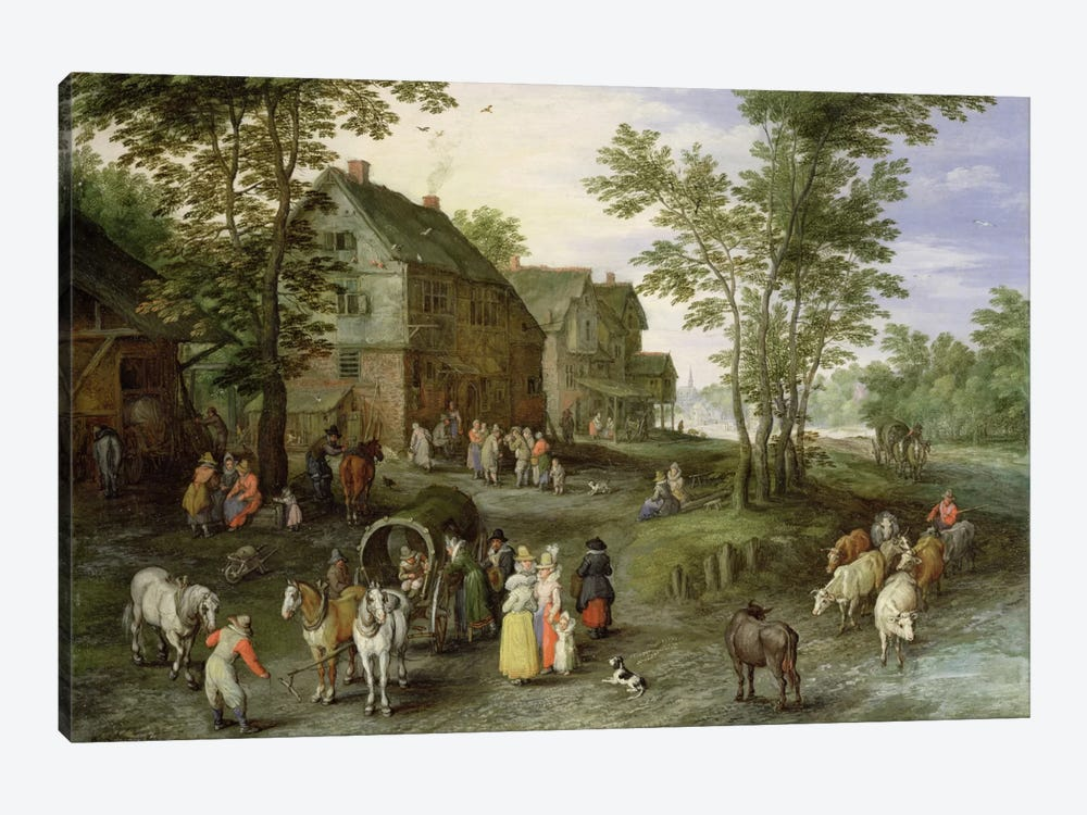 Village Landscape with Figures Preparing to Depart, 1613/1617  by Jan Brueghel the Elder 1-piece Canvas Wall Art