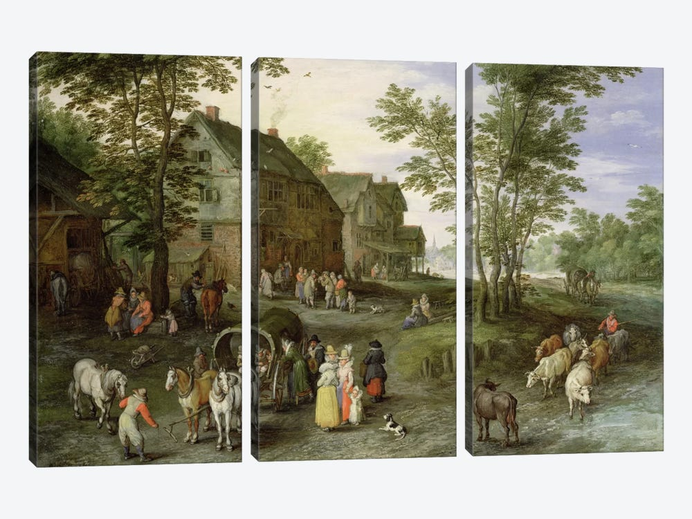 Village Landscape with Figures Preparing to Depart, 1613/1617  by Jan Brueghel the Elder 3-piece Canvas Artwork
