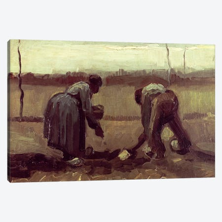 Two Peasants Planting Potatoes, 1885 Canvas Print #BMN6517} by Vincent van Gogh Canvas Artwork