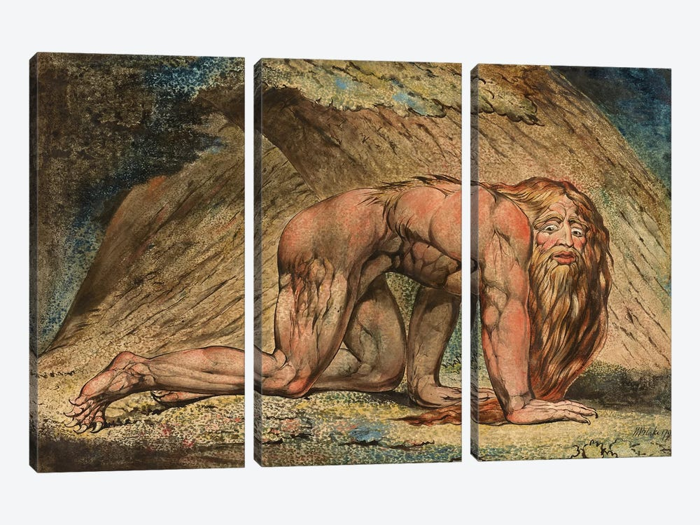 Nebuchadnezzar, 1795 (Minneapolis Institute Of Art) by William Blake 3-piece Canvas Wall Art