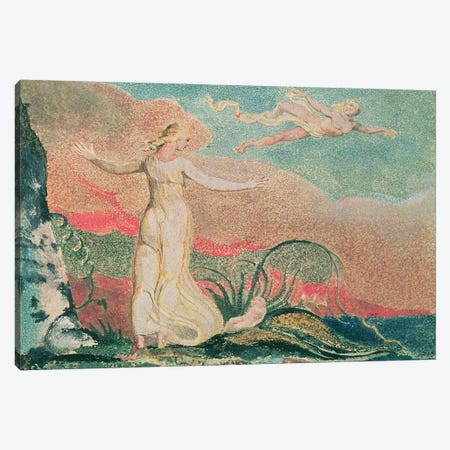 Thel In The Vale Of Har (Illustration From The Book Of Thel), 1794 Canvas Print #BMN6522} by William Blake Canvas Artwork