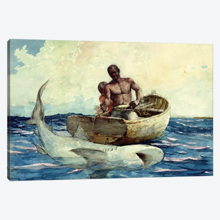 Shark Fishing, 1885 Canvas Print #BMN6524} by Winslow Homer Canvas Print