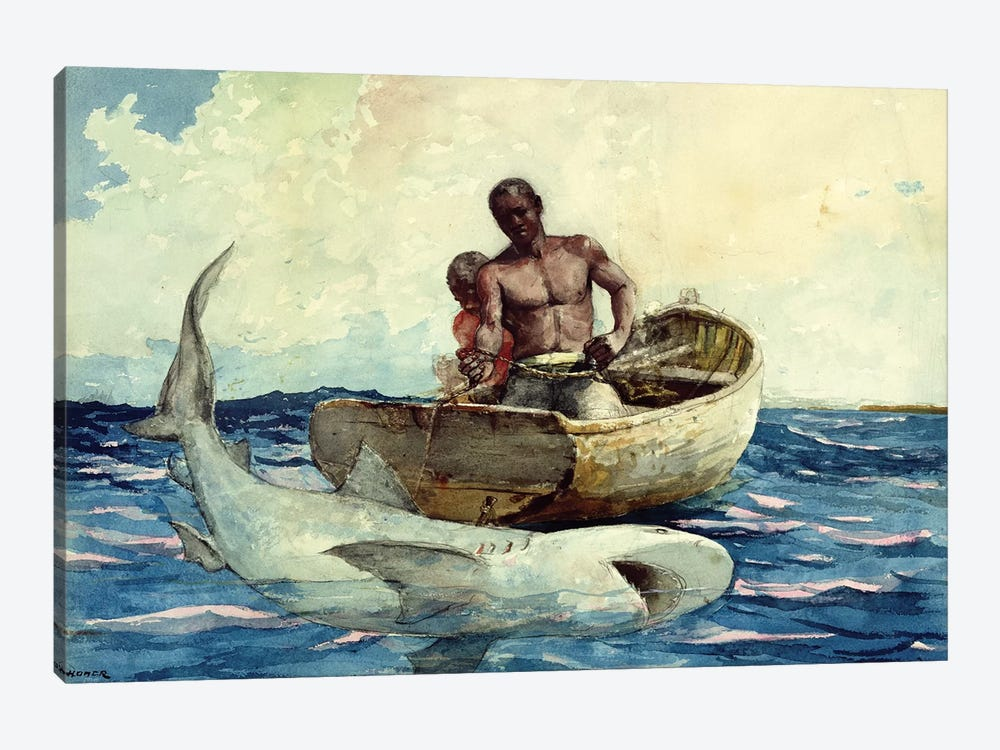 Shark Fishing, 1885 by Winslow Homer 1-piece Canvas Print