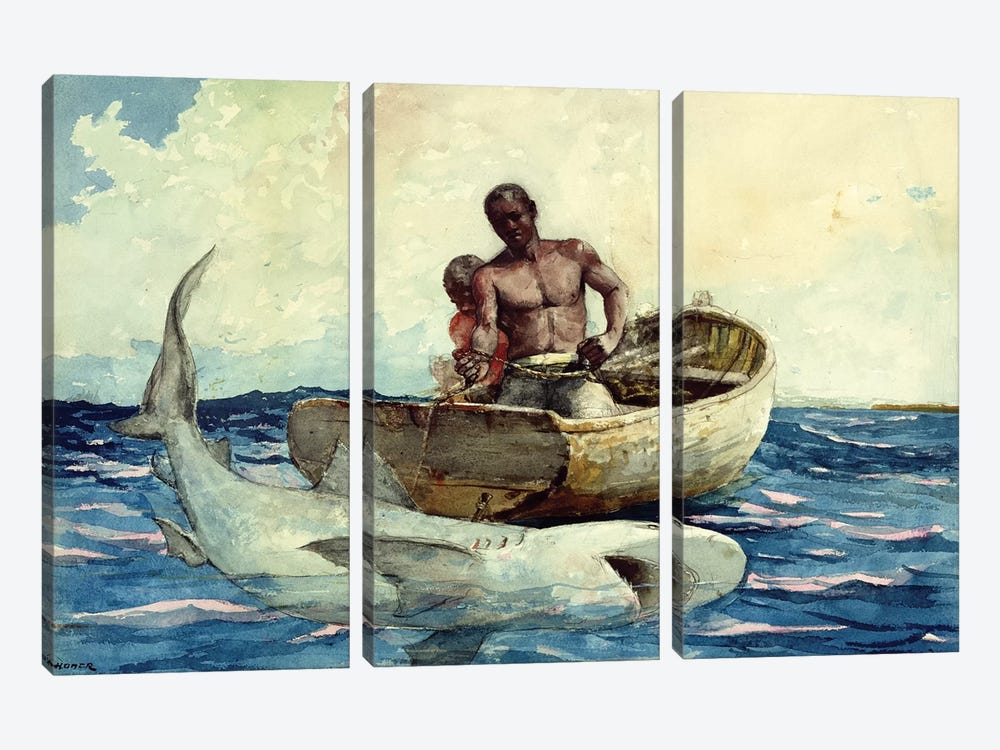 Shark Fishing, 1885 by Winslow Homer 3-piece Canvas Print