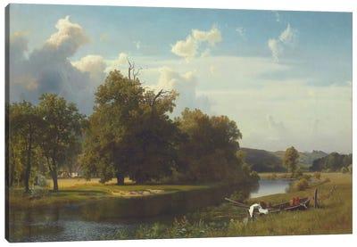 A River Landscape, Westphalia, 1855 Canvas Art Print