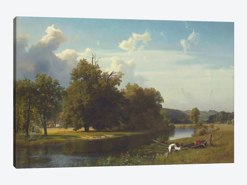 A River Landscape, Westphalia, 1855 by Albert Bierstadt 1-piece Art Print
