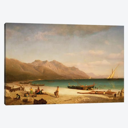 Bay Of Salerno, 1858 Canvas Print #BMN6527} by Albert Bierstadt Art Print