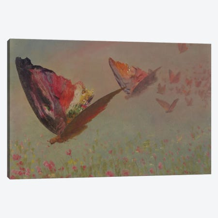 Butterflies With Riders Canvas Print #BMN6529} by Albert Bierstadt Canvas Wall Art