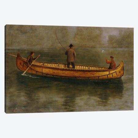 Fishing From A Canoe Canvas Print #BMN6535} by Albert Bierstadt Canvas Artwork