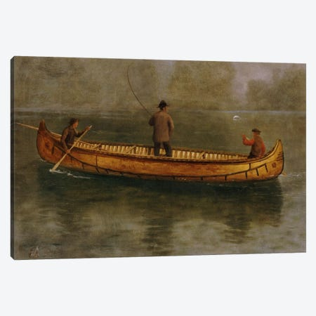 Fishing From A Canoe Canvas Print #BMN6535} by Albert Bierstadt Canvas Artwork
