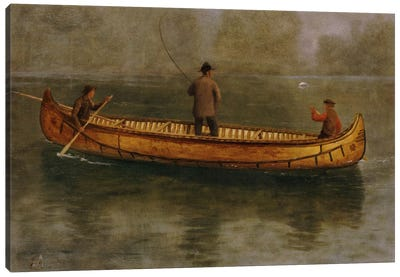 Fishing From A Canoe Canvas Art Print