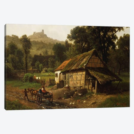 In The Foothills, 1861 Canvas Print #BMN6536} by Albert Bierstadt Canvas Art