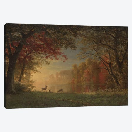 Indian Sunset: Deer By A Lake., c.1880-90 Canvas Print #BMN6537} by Albert Bierstadt Canvas Art