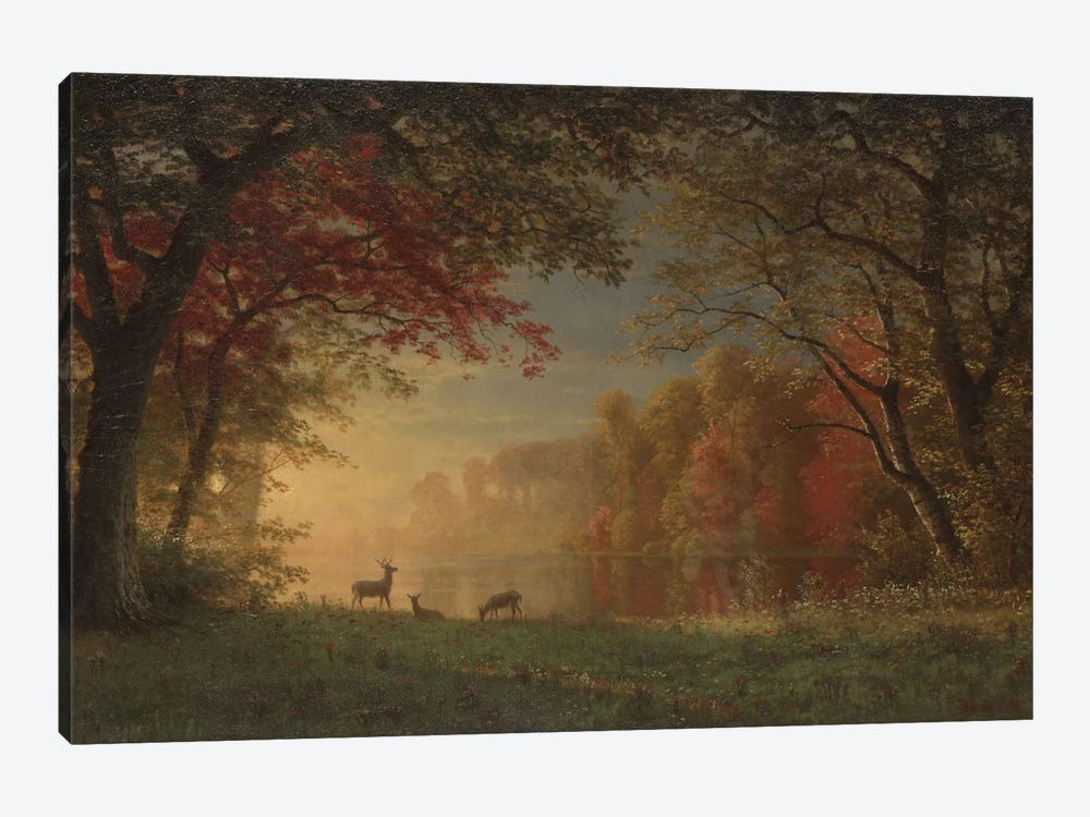 Indian Sunset: Deer By A Lake., c.1880-90 1-piece Art Print