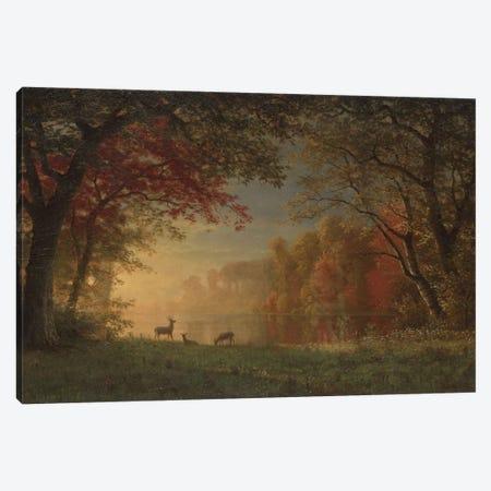 Indian Sunset: Deer By A Lake., c.1880-90 Canvas Print #BMN6537} by Albert Bierstadt Canvas Art