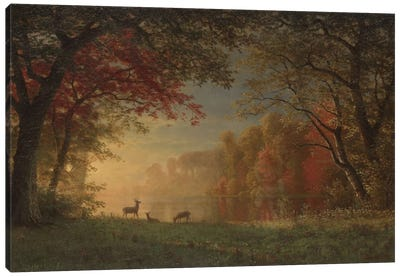 Indian Sunset: Deer By A Lake., c.1880-90 Canvas Art Print