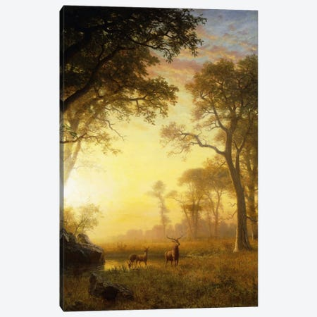 Light In The Forest Canvas Print #BMN6539} by Albert Bierstadt Art Print