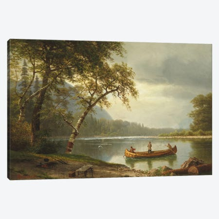 Salmon Fishing On The Caspapediac River (Quebec, Canada) Canvas Print #BMN6546} by Albert Bierstadt Art Print