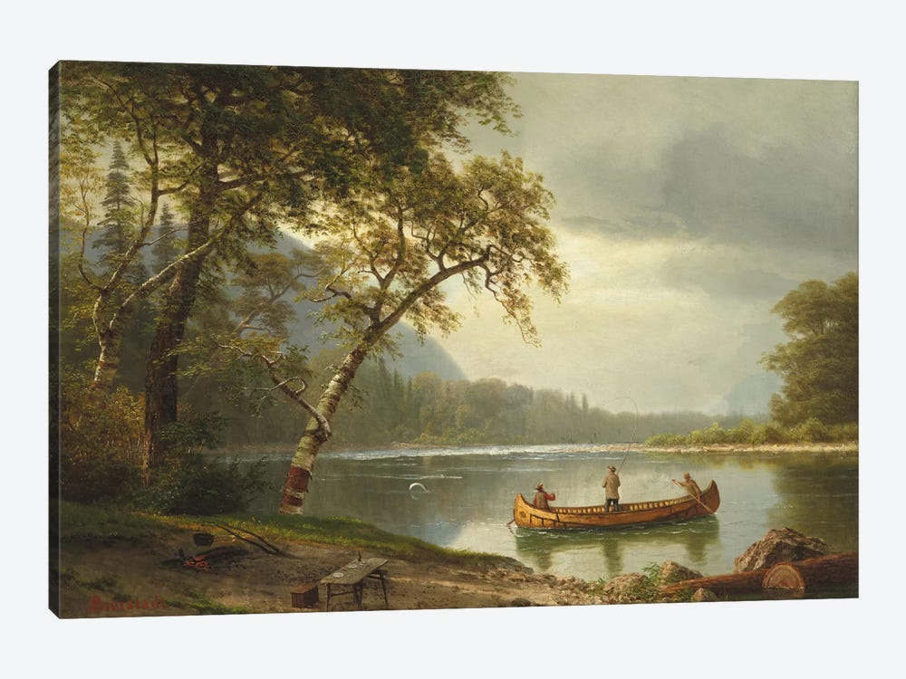 Salmon Fishing On The Caspapediac River (Quebec, Canada) by Albert Bierstadt 1-piece Canvas Art Print
