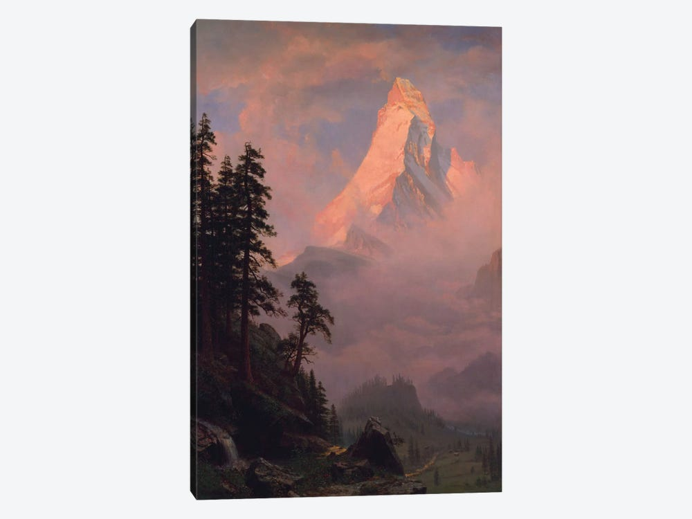 Sunrise On The Matterhorn, after 1875 by Albert Bierstadt 1-piece Canvas Print