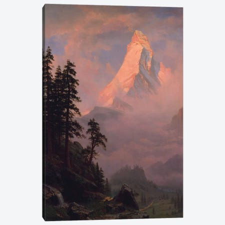 Sunrise On The Matterhorn, after 1875 Canvas Print #BMN6548} by Albert Bierstadt Canvas Artwork
