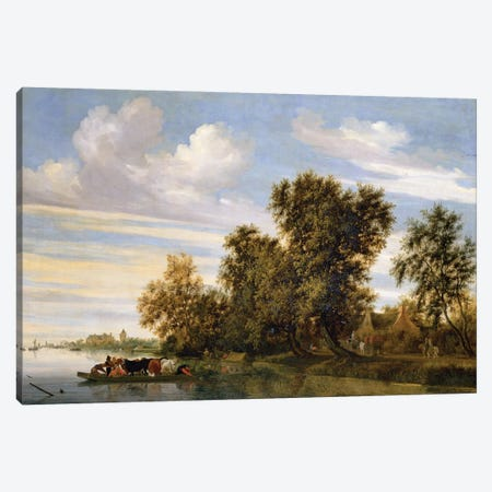 River landscape with ferry boat, 1650  Canvas Print #BMN654} by Salomon van Ruysdael Canvas Wall Art