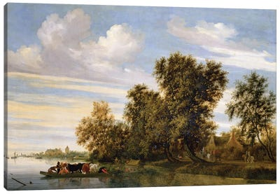 River landscape with ferry boat, 1650  Canvas Art Print