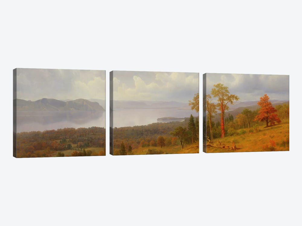 View On The Hudson Looking Across The Tappen Zee Towards Hook Mountain, 1866 by Albert Bierstadt 3-piece Art Print