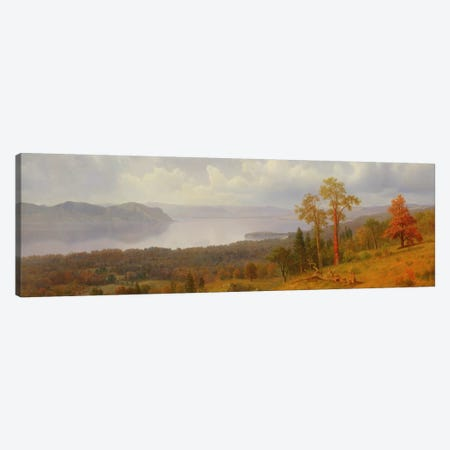 View On The Hudson Looking Across The Tappen Zee Towards Hook Mountain, 1866 Canvas Print #BMN6551} by Albert Bierstadt Art Print