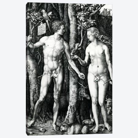 Adam And Eve, 1504 Canvas Print #BMN6554} by Albrecht Dürer Canvas Wall Art