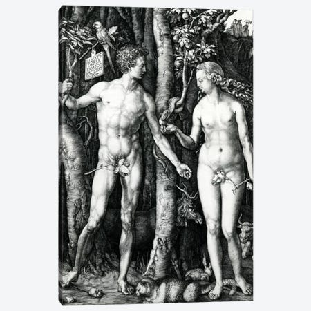 Adam And Eve, 1504 Canvas Print #BMN6554} by Albrecht Dürer Canvas Wall Art