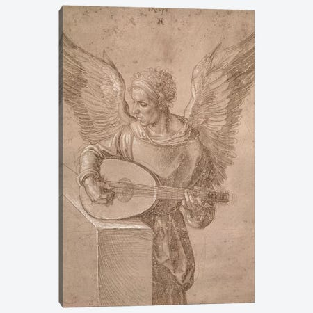 Angel Playing A Lute, 1491 Canvas Print #BMN6556} by Albrecht Dürer Canvas Wall Art