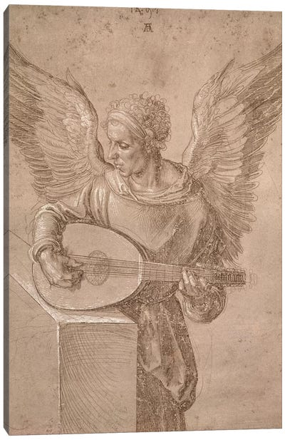 Angel Playing A Lute, 1491 Canvas Art Print
