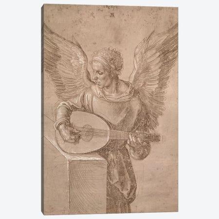 Angel Playing A Lute, 1491 Canvas Print #BMN6556} by Albrecht Dürer Canvas Wall Art
