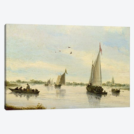 Sailing Boats on a River, 1640-49  Canvas Print #BMN655} by Salomon van Ruysdael Canvas Art