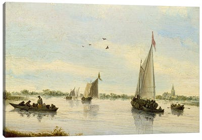 Sailing Boats on a River, 1640-49  Canvas Art Print