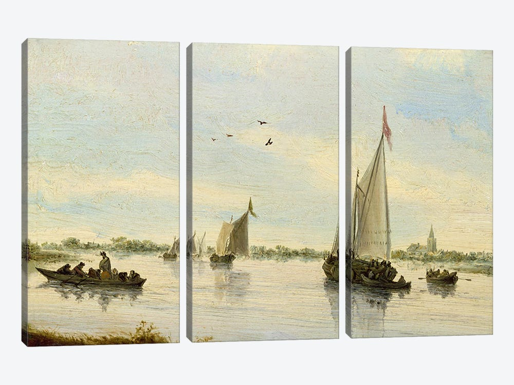 Sailing Boats on a River, 1640-49  by Salomon van Ruysdael 3-piece Art Print