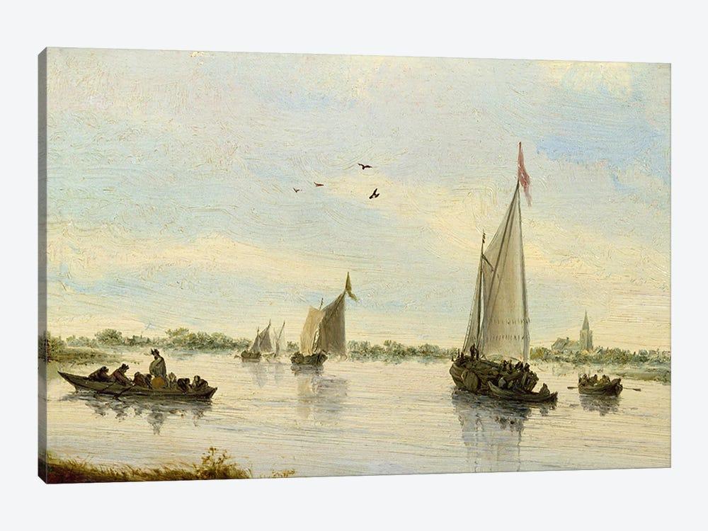 Sailing Boats on a River, 1640-49  by Salomon van Ruysdael 1-piece Art Print