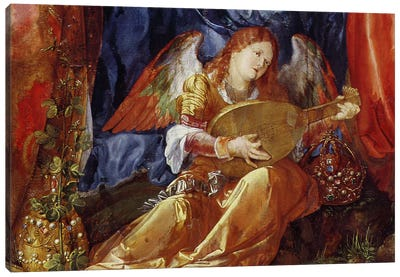Detail Of The Angel Musician, The Feast Of The Rose Garlands, 1506 Canvas Print #BMN6561