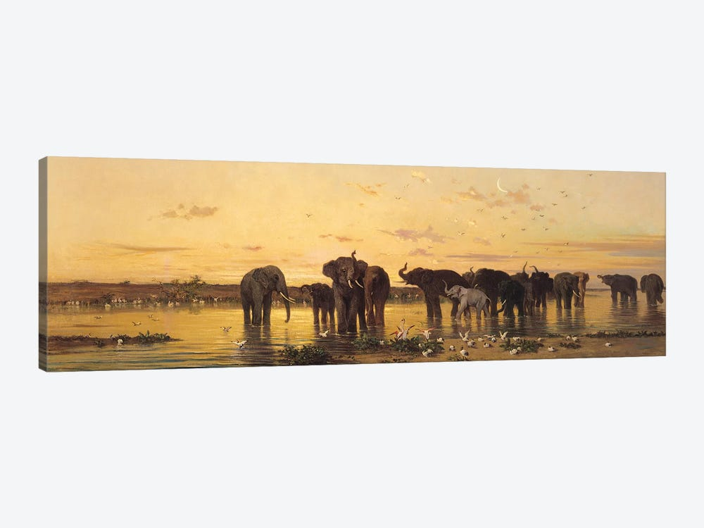African Elephants  by Charles Emile de Tournemine 1-piece Canvas Art