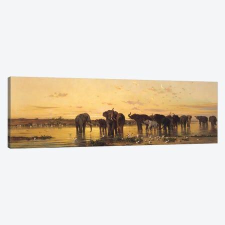 African Elephants  3-Piece Canvas #BMN656} by Charles Emile de Tournemine Canvas Art
