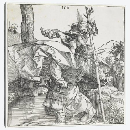 Saint Christopher, 1511 Canvas Print #BMN6580} by Albrecht Dürer Canvas Wall Art